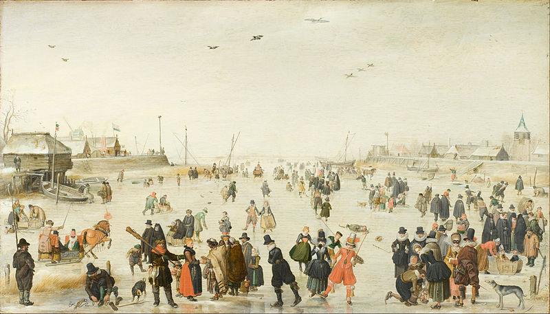 Winter Scene On the Frozen Canal by Hendrick Avercamp