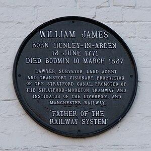 William James (railway promoter) - Henley-in-Arden, Memorial plaque