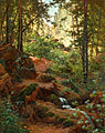 Henri Biva, Woodland interior with brook, oil on canvas, 81.9 x 65.4 cm.jpg