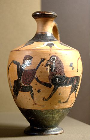 History of lions in Europe - Heracles and the Nemean lion, c. 540 BC, Boeotia, Greece