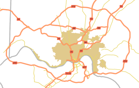 A simple map of Cincinnati's major thoroughfares