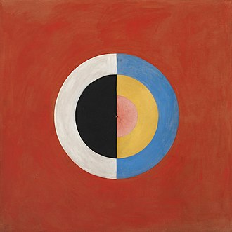 Hilma af Klint - Svanen (The Swan), nr 17, Group 9, Series SUW, October 1914 – March 1915. This abstract work was never exhibited during af Klint's lifetime.