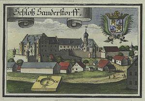 Sandersdorf Castle - Image: Historische Ansicht von Sandersdorf nach Kupferstich von Wening
