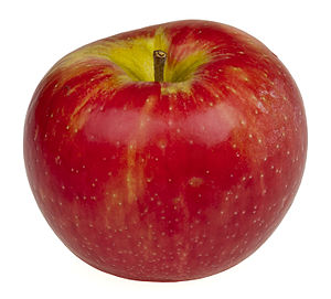 English: A honeycrisp apple from an organic fo...