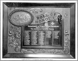 First World War Honour Board, Lands Administration Building - World War I Honour Board dedicated to the Queensland Lands Department Officers and some authorised surveyors who enlisted in the Australian Imperial Forces during the First World War, 1917