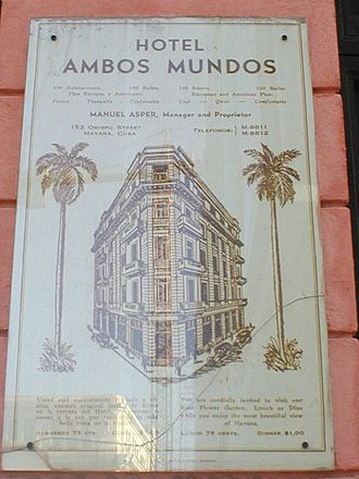 Hotel Ambos Mundos (Havana) - Close up of the hotel front address plate, which may also be seen at just above head-level from the street, in the photograph above