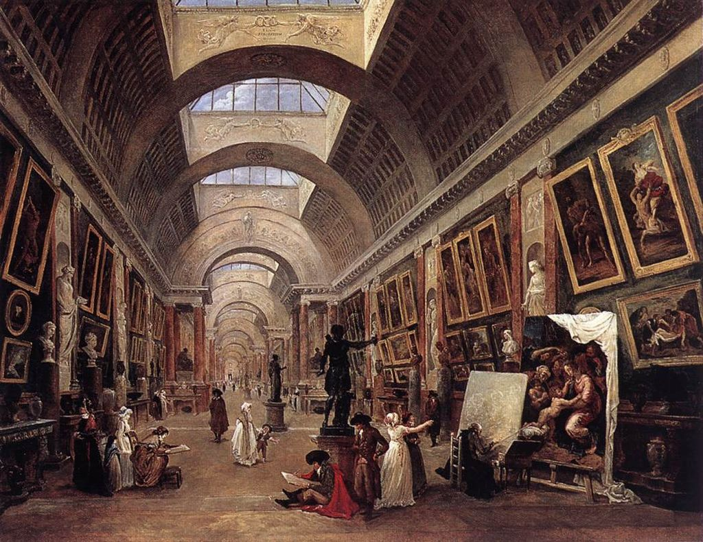 Hubert Robert - Design for the Grande Galerie in the Louvre - WGA19590
