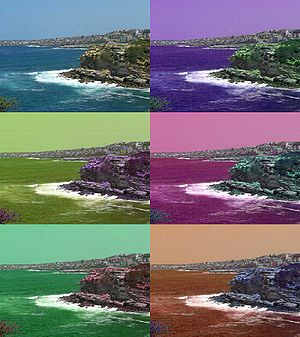 Hue - An image with the hues cyclically shifted in HSL space