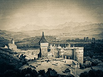 Hunedoara - Hunedoara as depicted by Ludwig Rohbock (1820-1883)