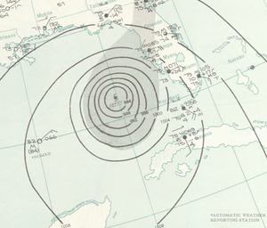 Contoured map of a tropical cyclone in a body of water. Contours denote isobars, and the location of the storm is marked with a tropical cyclone symbol.