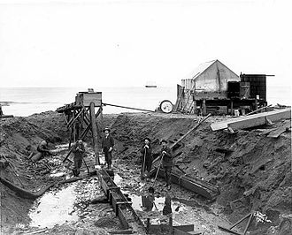 Nome Gold Rush - Miniature hydraulic lift at beach, 1904