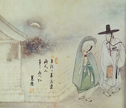 Men's (right) and Women's (left) clothes (Hanbok) of Joseon Dynasty. A portrait painted by Shin Yun-bok (1758-?) Hyewon-Wolha-jeongin-2.jpg