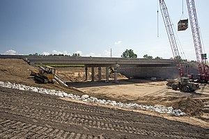Michigan State Trunkline Highway System - Construction along I-96 for the interchange with M-231 in July 2013