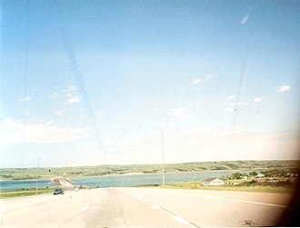 Chamberlain, South Dakota - I-90 crossing the Missouri River in Chamberlain.