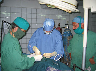International Assistance Mission - An eye operation at one of the NOOR teaching hospitals.