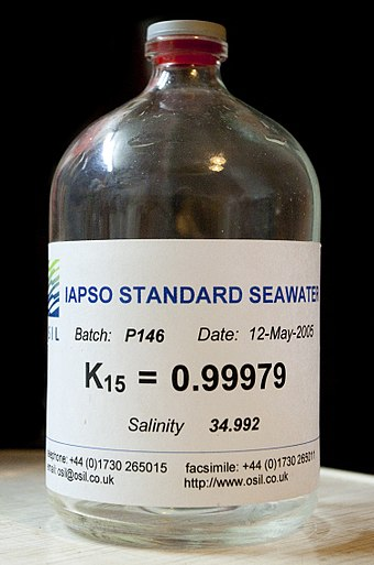 International Association for the Physical Sciences of the Oceans (IAPSO) standard seawater. IAPSO Standard Seawater.jpg