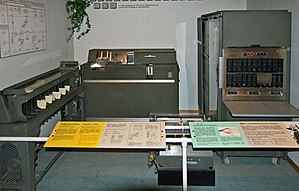 "IBM 650 - Part of the first IBM 650 computer in Norway (1959), known as ""EMMA"". 650 Console Unit (right, an exterior side panel is missing), 533 Card Read Punch unit (middle, input-output). 655 Power Unit is missing. Punched card sorter (left, not part of the 650).  Now at Norwegian Museum of Science and Technology in Oslo."