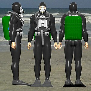 Limpet mine - 3 views of a frogman with IDA71 rebreather breathing set, supplied with keeper plate to clip a limpet mine to his chest.