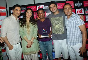 I Am (2010 Indian film) - The cast of I Am at the 2011 Mumbai Queer Film Festival where the film won Best Narrative Feature. Left to right: Sanjay Suri, Juhi Chawla, Onir, Arjun Mathur, Rahul Bose.