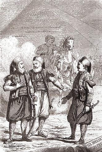 Ibrahim Pasha of Egypt - Ibrahim Pasha, with father Muhammad Ali Pasha and Colonel Sève (Suleiman Pasha, right).