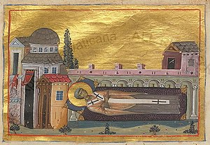 Ignatios of Constantinople - Painting showing the death of Ignatius from the Menologion of Basil II (c. 1000 AD)