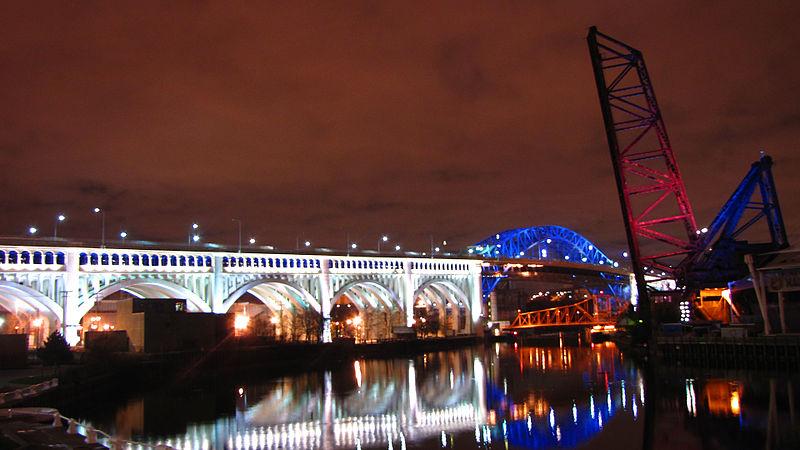 File:Illuminated bridges.jpg