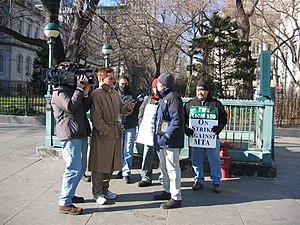 2005 New York City transit strike - Picketers showed up at the Brooklyn Bridge and New York City Hall as part of an effort to generate publicity.