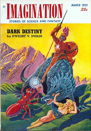 Sword and planet -  Cover of Imagination, March 1952 Date