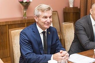 Viktoras Pranckietis - Image: Ināra Mūrniece tiekas ar Lietuvas Seima priekšsēdētāju (36314574582)