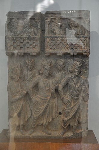 Uttariya - Relief depicting men in antriya and uttariya, 1st century AD
