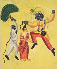 Rama and Hanuman, Holding an Uprooted Tree, Rescues Sita