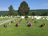 Headstones for Confederate war dead in the cemetery