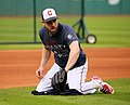 Indians second baseman Jason Kipnis fields grounders before -WorldSeries Game 1. (30275028350).jpg
