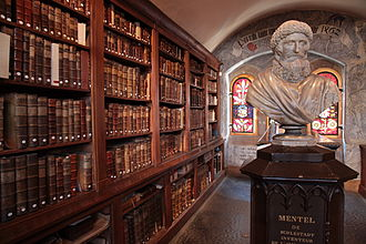 Humanist Library of Sélestat - Library of Beatus Rhenanus with a bust of Johannes Mentelin