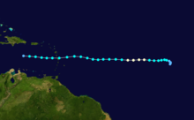 A track map of Hurricane Isaac