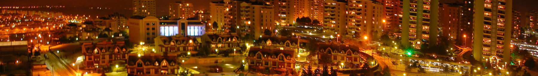 The suburb of Bahçeşehir at night