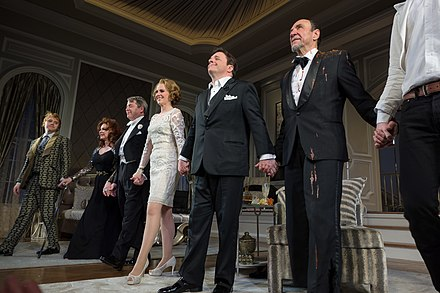 Abraham (last full figure on right) onstage at the end of a December 2014 production of It's Only a Play