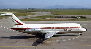 Aerolinee Itavia Flight 870 - I-TIGI, the aircraft involved in the accident, seen at Pisa International Airport in 1973. The explosion occurred in the area of the right engine.
