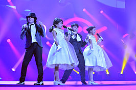 JESC 2013 (Georgia) Smile Shop at rehearsal 2.jpg