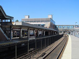 JFK/UMass station - The Braintree Branch platform (left) opened in 1988, while the commuter platform (right) opened in 2001