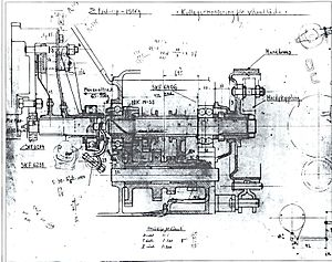 Jan G. Smith - Gearbox (3-speed) sketch by Jan G. Smith for the first Volvo ÖV4 prototypes. Date 5 januari 1925.