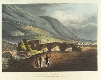 Daughters of Jacob Bridge - The Daughters of Jacob Bridge in 1799, seen from the north, with the Mamluk Khan to the left hand side