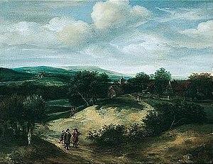 Jacob Koninck - Dune landscape with hunters, 1667