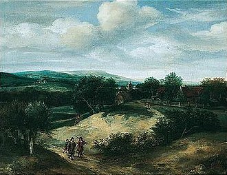 Jacob Koninck - Dune landscape with hunters, 1667