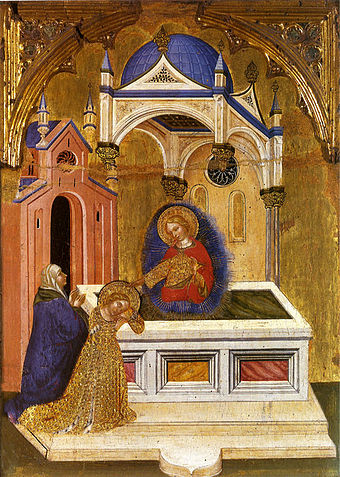 Eutychia and Lucy at the Tomb of Saint Agatha, by Jacobello del Fiore Jacobello del Fiore Santa Lucia en el sepulcro de Santa Agueda PC Fermo.jpg