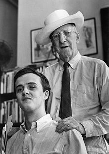 Tate (left) at the Grolier Poetry Book Shop in 1965 with the owner, Gordon Cairnie