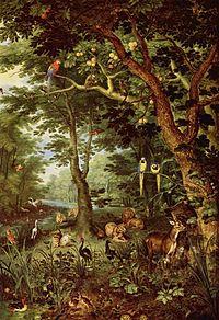peinture. Dans un environnement paradisiaque d'arbres, de mares et rivières tranquilles , avec des oiseaux colorés (perroquets, singes, canards les animaux sauvages, prédateurs (lions) et proies (cerfs) habituels réunis, cohabitent tranquillement.