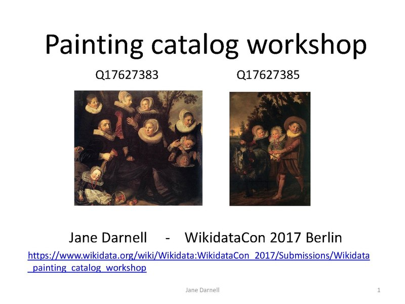 File:Jane Darnell WikidataCon 2017 - Painting catalog workshop with notes.pdf