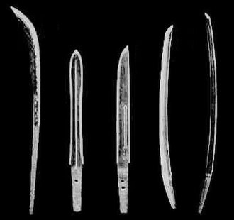 Japanese sword - A range of Japanese blade types, from left to right: naginata, ken, tantō, uchigatana and tachi (not to scale).