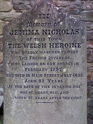 Jemima Nicholas - Gravestone of Jemima Nicholas outside St Mary's Church, Fishguard